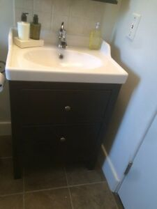 IKEA bathroom cabinet, sink and faucet