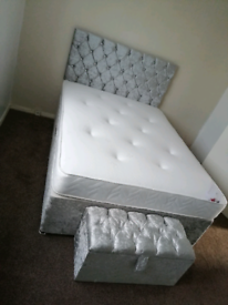 Brand New Crushed Velvet Divan Base with Mattress