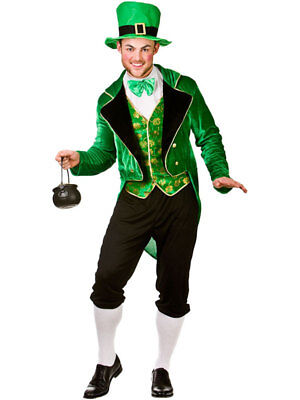Mens Deluxe Lucky Leprechaun St Patricks Day Irish Fancy Dress Costume Outfit