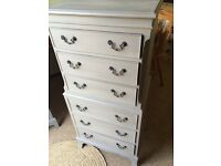 Up Cycled Solid Tall Boy Chest of Drawers / Free Delivery
