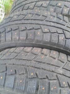 """Set of 4-225/70/16""""Studded,winter tires on rims.LOTS of tread"""