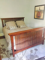 Solid Oak Mission Style Queen Bed