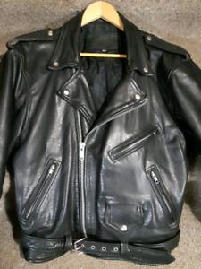 Heavy leather biker jacket