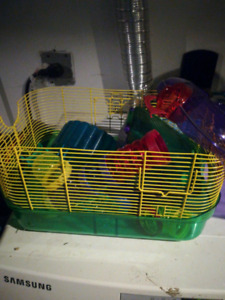 Hamster cage wheel and trails