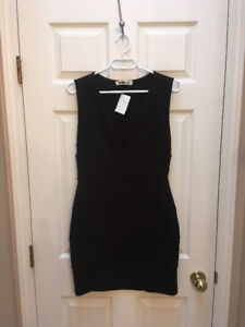 Black low neck dress