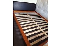 Kingsize wooden bed frame very solid with instructions and leather type headboard & mattress *£100*