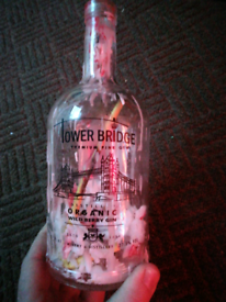Upcycle candle holder tower bridge gin pub Bar Mancave Glass bottle