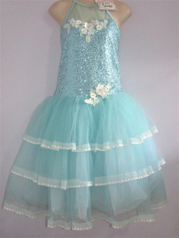 Long Lace Blue Sequin Sheer Ballet Dance Costume Curtain Call AXLG