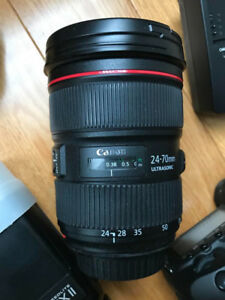 Canon Lens and Flash.