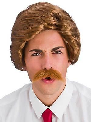y Guy Wig & Moustache Fancy Dress 80's Newsreader Reporter (Funny Guy-kostüm)