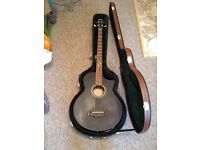 Ibanez electro acoustic base guitar and case