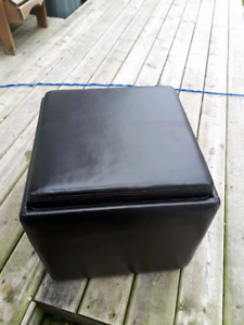 Leather like material storage box with a small stool