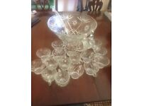 Crystal/ glass punch bowl and cups