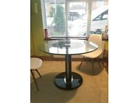 Stylish Glass round dining table with marble base