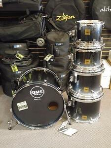GMS Maple Shell kit 10-12-14-16-22 black to silver sparkles - used/usagée