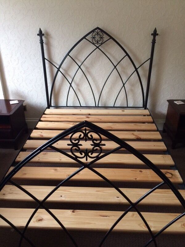 Stunning Gothic Style Black Cast Iron Double Bed Frame