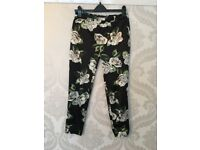 Black Satin River Island Trousers with Floral Print - size 10