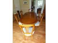 Lovely Yew dining table, chairs, dresser and small cupboard