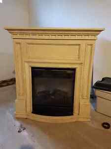 Antique ivory electric Fireplace