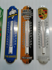 CLASSIC PORCELAIN GAS OIL AND HARLEY DAVIDSON THERMOMETERS