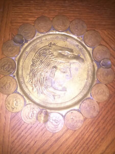 Vintage Mexican Ashtray Made With Real Coins