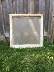 ANTIQUE SINGLE PANE WINDOW FRAME WITH GLASS INTACT