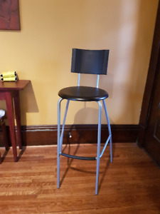 Bar stool with backrest, black, grey/silver color