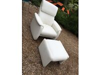 ITALIAN LEATHER CHAIR WITH FOOTSTOOL