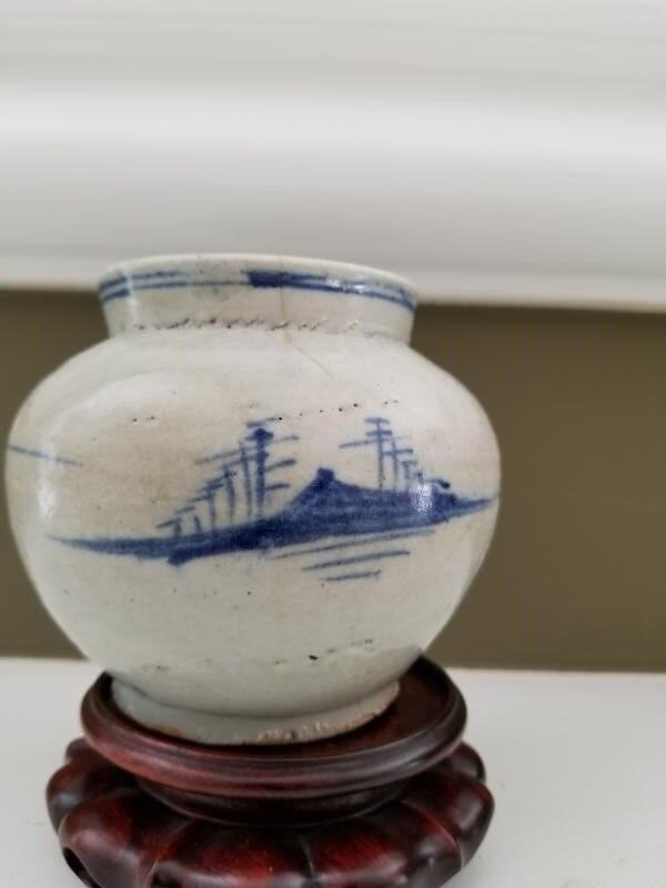 Yi Dynasty Blue and White Jar Landscape and Flower Cobalt images