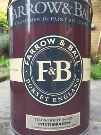 Farrow and ball paint, strong white, 5 litres, unopened