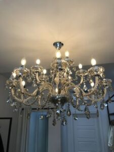 Candle Lamp Ceiling Crystal Chandelier with 20 LED Bulbs