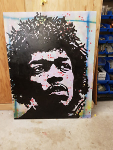 Jimi Hendrix Huge Original Art on 33 x 44 Wood Purple Haze