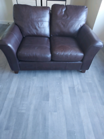 Two Brown real leather Marks and Spencer 2 seat Sofas