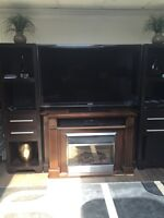 Furniture electric Espresso brown fireplace