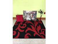 Black and red rug, canvas, 2 cushions , vase with flowers
