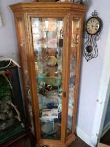 Solid Oak Display Cabinet with Mirrors