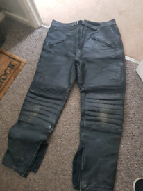 Leather motorbike motorcycling trousers size 36