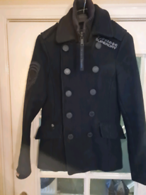 Superdry Navy Label Patsy coat Military jacket size S in black