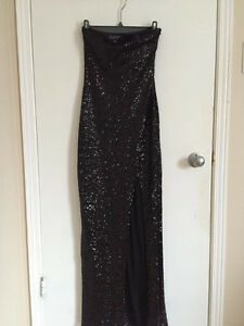 Black Strapless sequined gown with a side slit - Prom dress