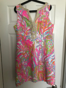 2 LILLY PULITZER XL DRESSES BEST OFFER AND SZ 18 GOOD AMERICAN J