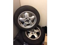 2x 175 65 r 15 84h tyres with standard mini alloy rims + 1 space saver tyre and rim