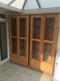 2 X oak ? Cabinets cupboards glass shelving units adjustable shelves.