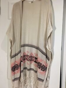 Aztec print cardigan with fringes size small