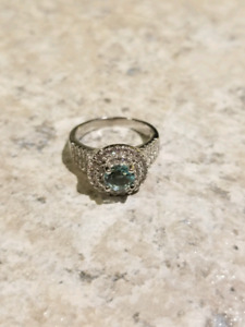 Real silver aquamarine ring size 7 never worn