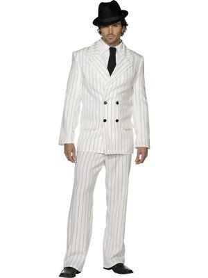 20er Jahre Kostüm Anzug weiss Mafiaanzug Charleston Nadelstreifenanzug Herren - Herren Mafia Kostüm