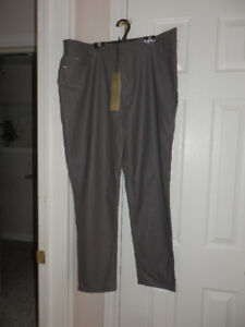 LADIES NEW FAUX LEATHER GREY PANTS