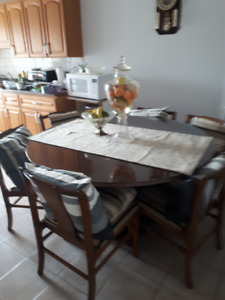 Custom Made Solid Wood Round Dining Table with Glass Cover.