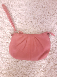 Pink faux leather wristlet