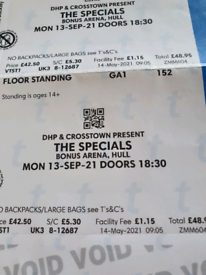 2 Tickets for The Specials tonight in Hull
