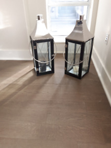 URGENT MOVING SALE! Pair of Extra Large Wooden Candle Lanterns